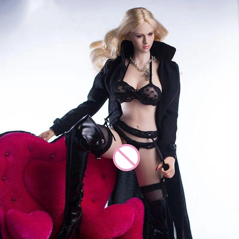 "Ropa interior femenina a escala 16, ropa interior, ropa interior Sexy negra para mujer, gabardina para cuerpo de PH de 12 "", figuras de acción, muñeca de juguete"