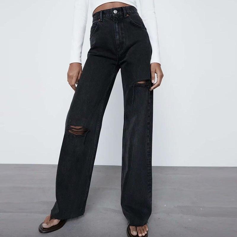 نساء صيف موضة جينز صلب 2021 ZA حفرة أزرار Pockers بنطال ذو قصة أرجل واسعة أنثى غير رسمية شارع سراويل جينز جينز ملابس