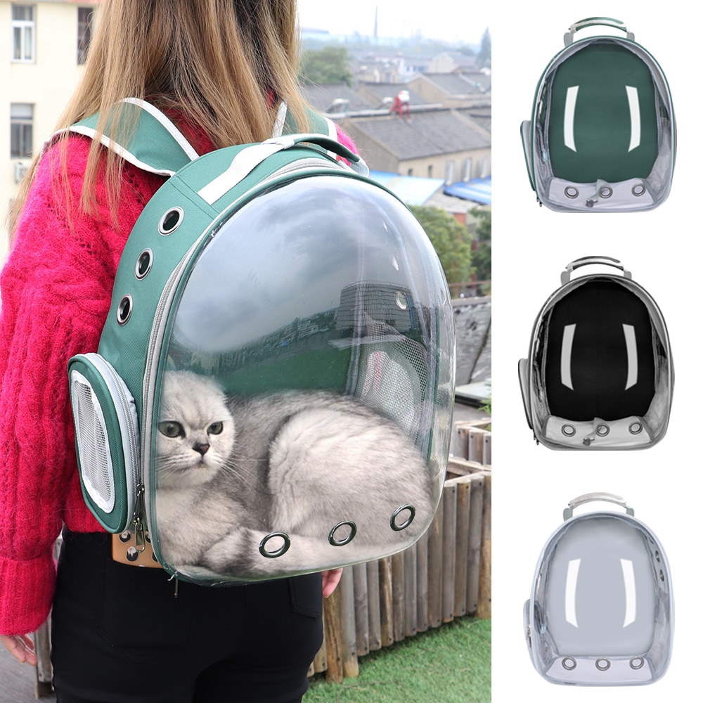 Portable Cat Carrier Bag Breathable Pet Small Dog Cat Backpack Outdoor Travel Space Capsule Cage Transparent Space Pet Backpack