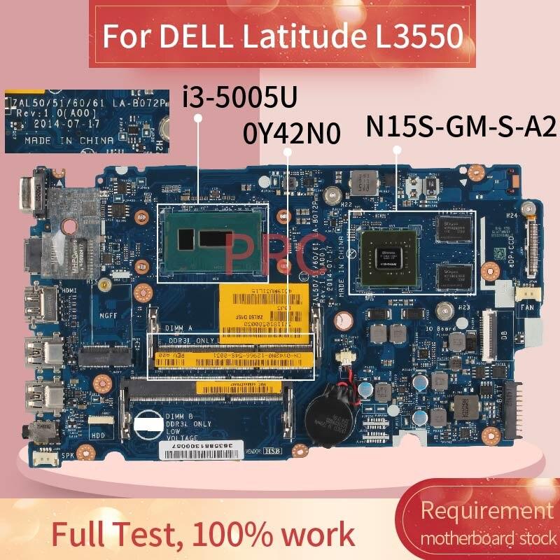 Placa-mãe para notebook dell latitude l3550 CN-0Y42N0, 0y42n0, com placa-mãe para computador, notebook