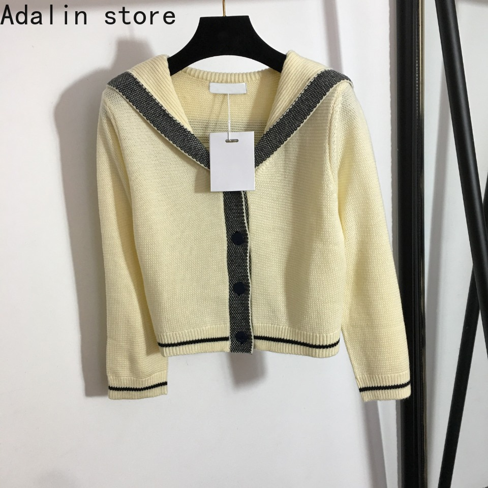 2021 spring and Autumn New Navy collar single breasted high quality cardigan temperament women's knitted coat sweater enlarge