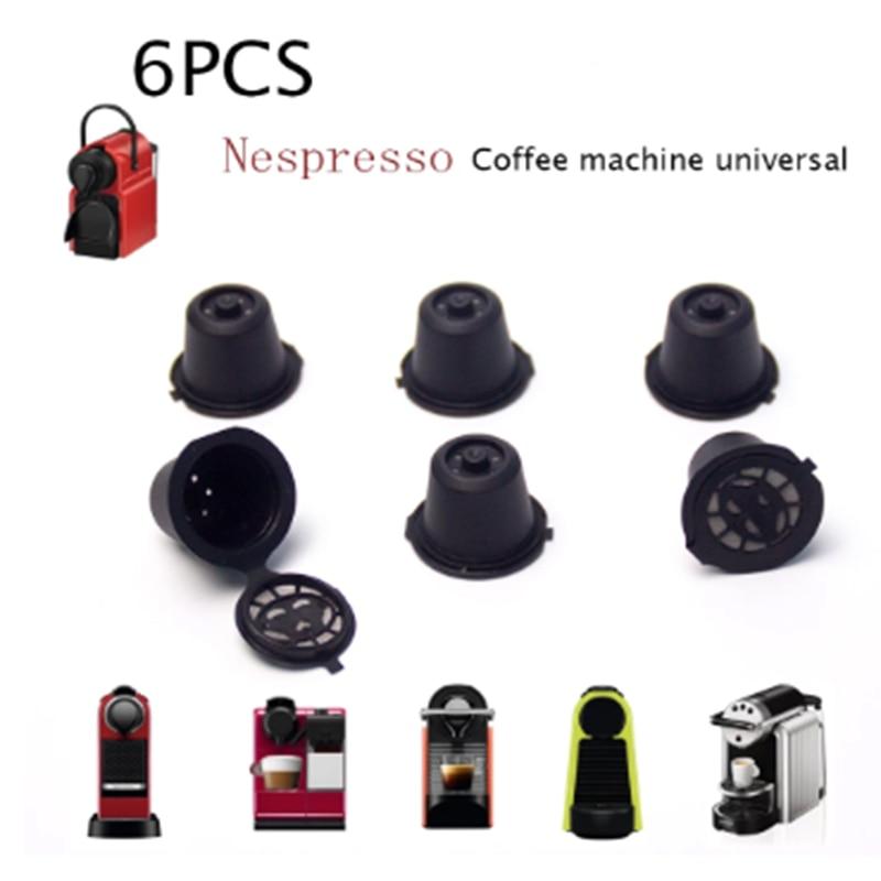 6 шт. подходит для кофемашины Nespresso Кофе чашка фильтра многоразовые Кофе капсулы с фильтром с ложкой и кисточкой Кухня аксессуары