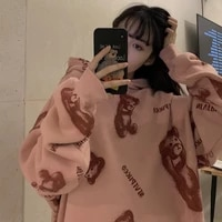 ancient vetiver bear sweater womens winter ins loose street version lazy wind plush thickened chic coat tide autumn and winter