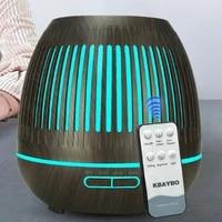 Humidificateur dair ultrasonique pour bureau et maison  diffuseur dhuile essentielle et darome avec Grain de bois fonce  lumieres LED aux 7 couleurs changeantes  400ML