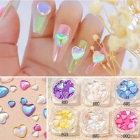 1 box fluorescent colorful heart shaped nail art decoration laser nails crystal jewelry beauty fairy manicure