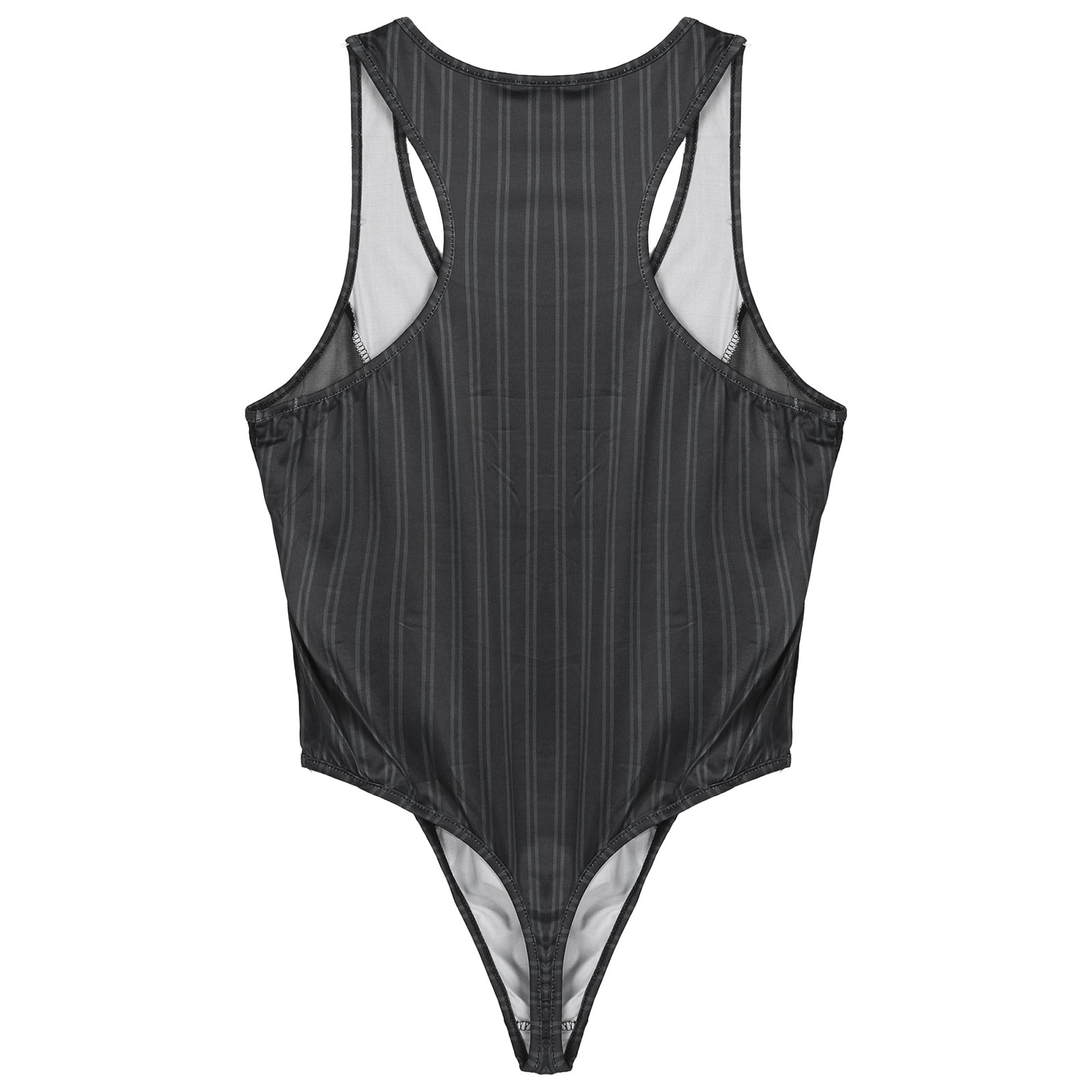 Mens Sexy Bodystocking Sleeveless See-through Mesh Patchwork Hollow Out Bodysuit One-Piece Striped J