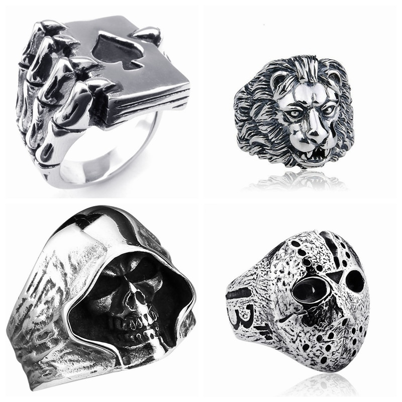 Black Friday Hockey Jason Mask Skull Rings Men Retro Style Lion Head Ring Skull Claw Jewelry ROCK Biker Gamblers Jewelry