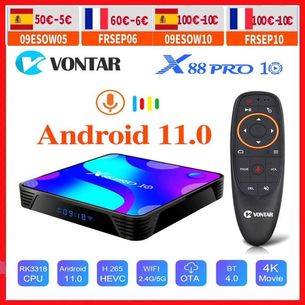 RK3318 Android 11 Smart TV Box Android 10.0 Media Player MAX 4GB RAM 128GB ROM BT4.0 TVBOX 5.8G Dual Wifi Youtube 4K Set Top Box