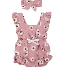 Baby Girls Two-piece Clothes Set, Sleeveless Square Collar Romper + Bow Knot Headdress, Pink/ Yellow