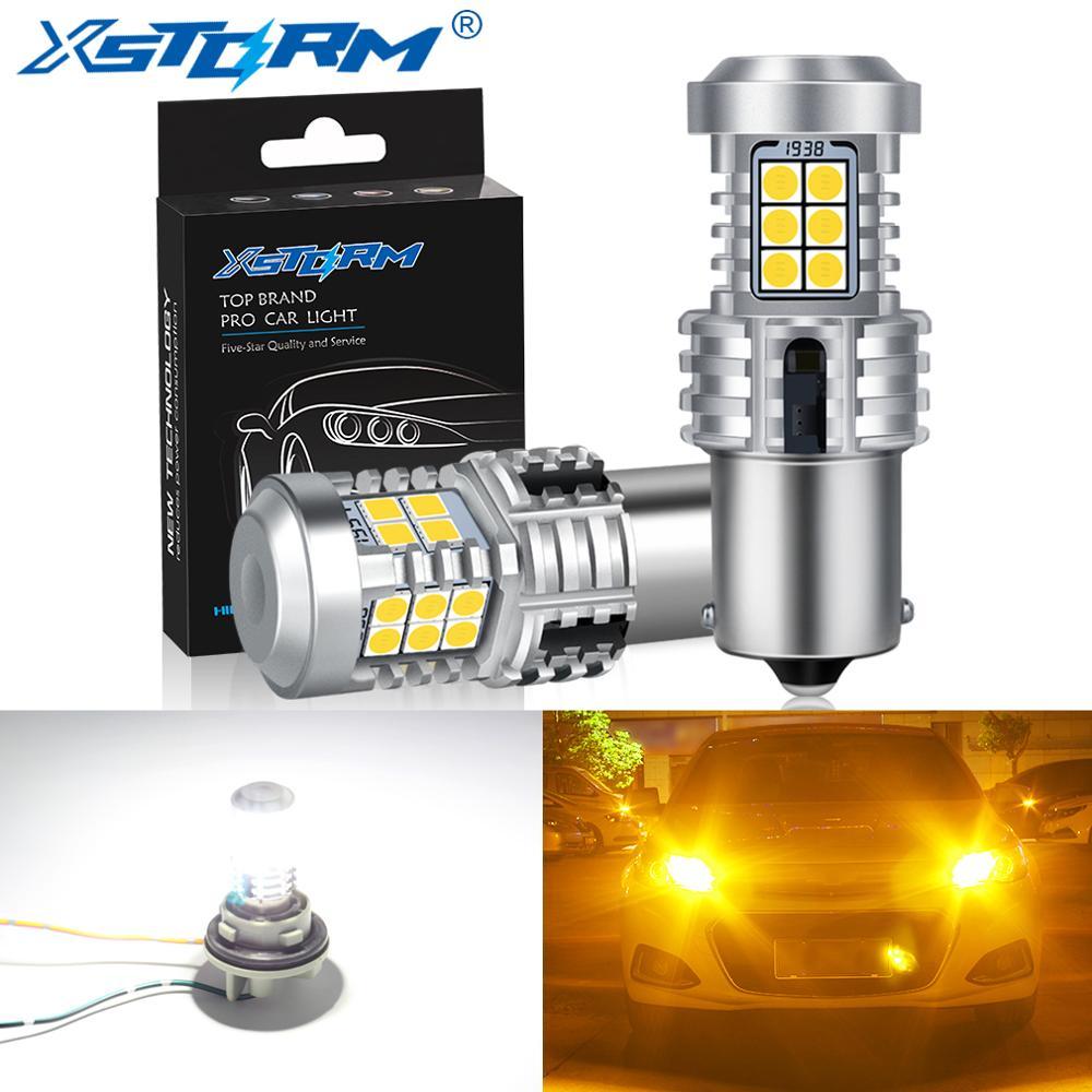 2Pcs 1156 BA15S P21W LED Canbus BAU15S PY21W Led Bulb No Hyper Flash Car Turn Signal Light Accessories 12V Auto Lamp White Amber
