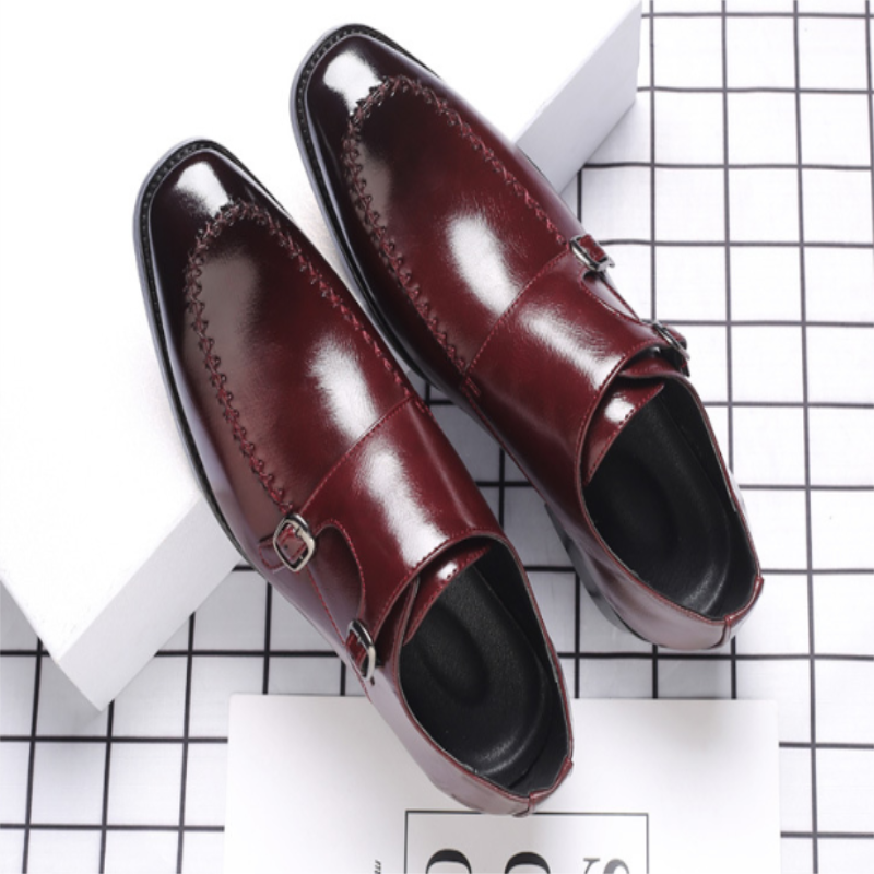 Nightclub Hairstylist Fashionable Shoes Men's Versatile Business Dress Casual Retro Pointed Buckle L