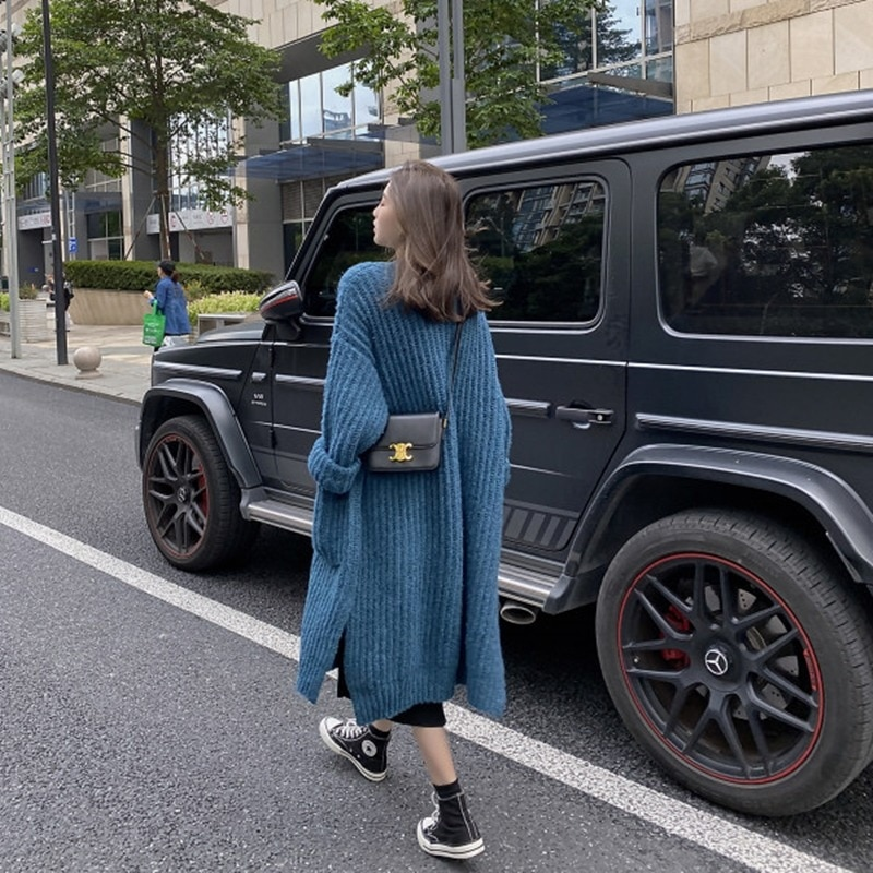 Over-the-knee Thick Sweater Women's Coat For Fall/winter 2021 New Knit Sweater Long Fashion Blue Sweater Women's Coat enlarge