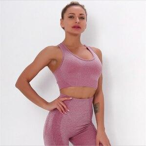 2020  Yoga Sports bra gather shockproof seamless fitness underwear female bra dot jacquard yoga sports outdoor sport bra DS65