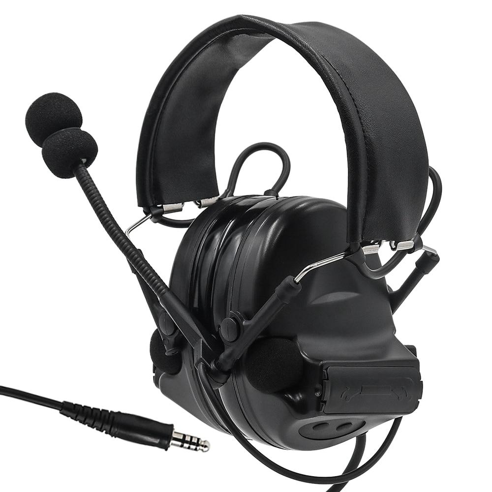 كومتاك سماعة رأس تكتيكية كومتاك II سماعات لاقط لإلغاء الضوضاء سماعات رأس الادسنس العسكرية للصيد التكتيكي واذان للاذنين BK