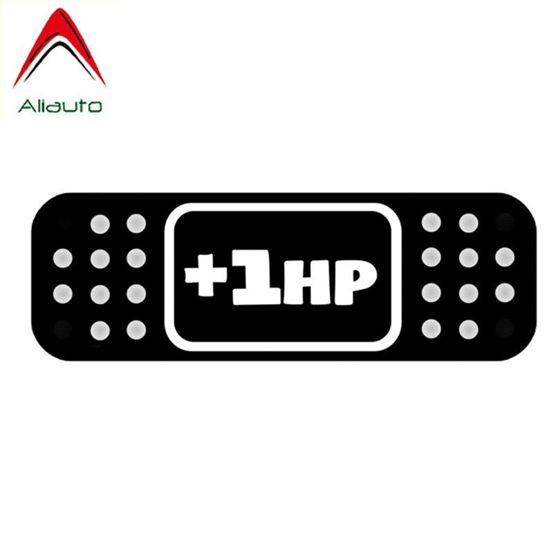 Pegatina de dibujos animados Aliauto + 1hp Band Aid JDM, pegatina creativa reflectante de vinilo, accesorios para motocicletas, negro/plata, 12cm * 4cm