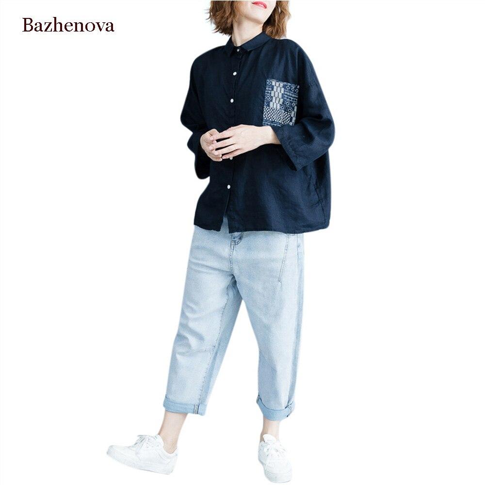 [Bazhenova ] Women Shirt  2019 Autumn Pocket Patch Nine Quarter Sleeve Shirt Easy Thin Cotton Shirt For Girl R004