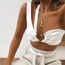 Sexy une épaule Sptapless blanc culture hauts 2020 été femmes métal décoratif bustiers Simgle Bustier Camis
