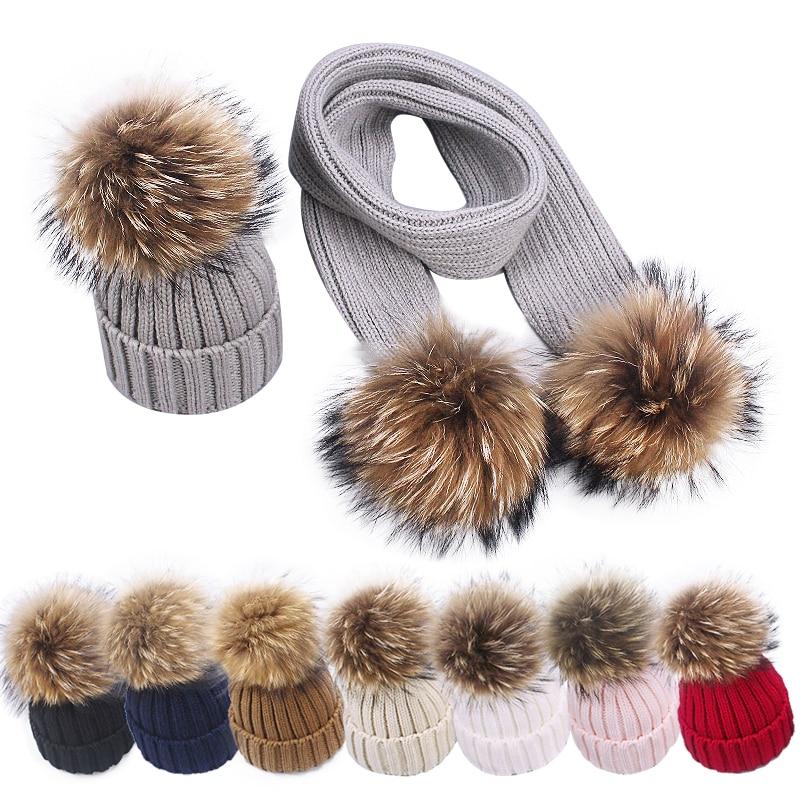 2021 طفل صبي قبعة ووشاح الأطفال الشتاء قبعة كبيرة من الفراء موضة الاطفال التصوير اكسسوارات الحياكة القبعات للفتيات الأم