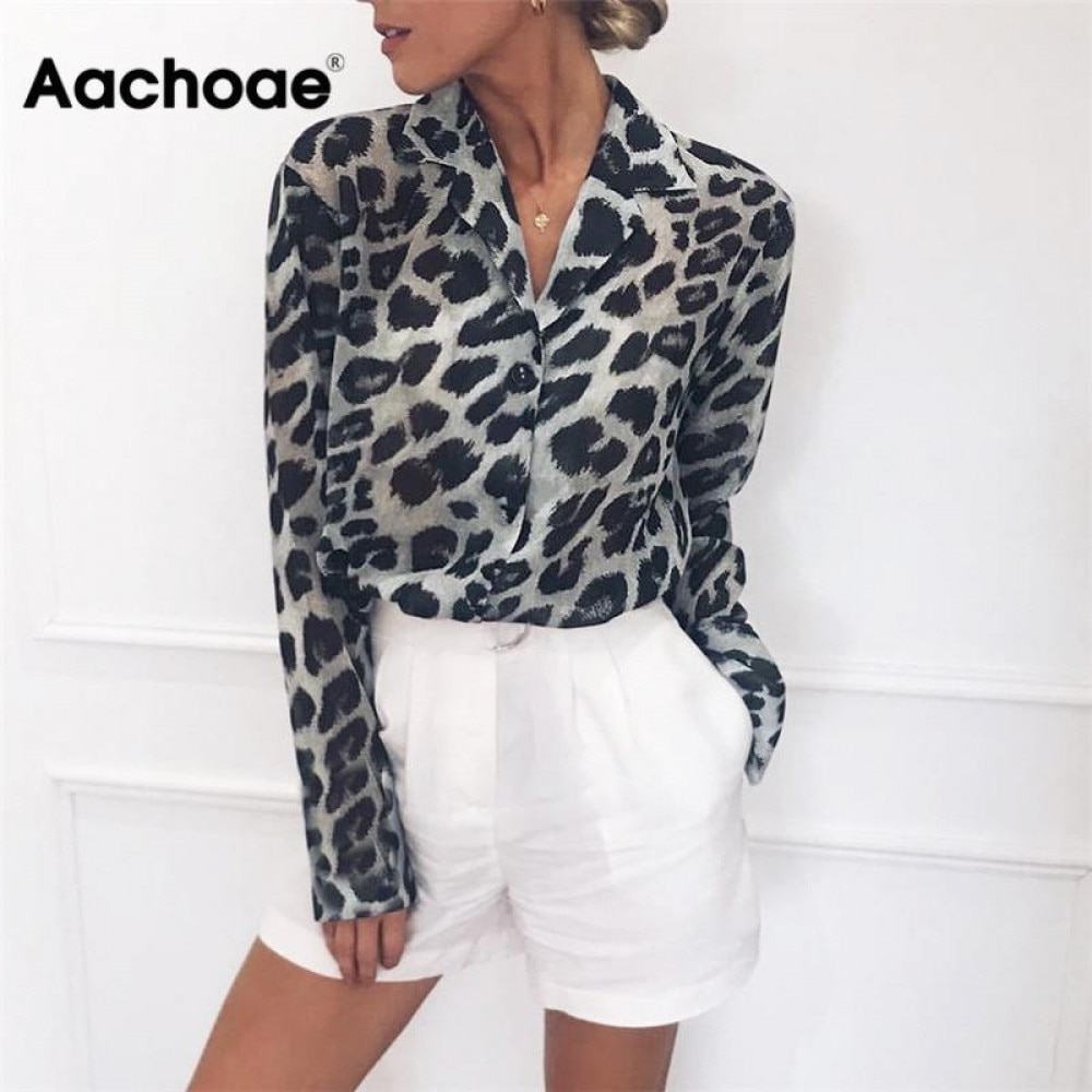 AliExpress - Aachoae Vintage Blouse Long Sleeve Leopard Print Blouse Turn Down Collar Office Shirt Tunic Casual Loose Tops Plus Size Blusas