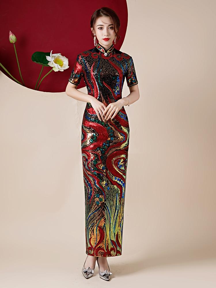فستان سهرة مطرز بالترتر ، فستان حفلات ، شق جانبي ، أكمام قصيرة ، طول الشاي ، صيني ، عصري