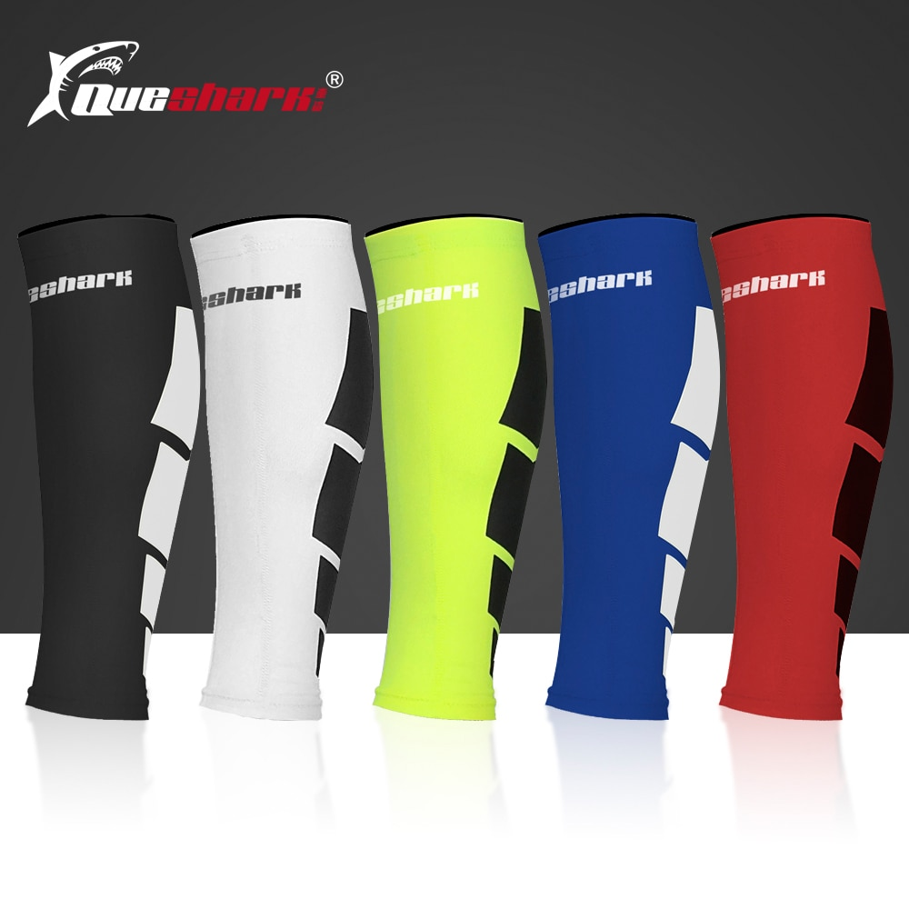 Queshark Professional Compression Cycling Legwarmers Running Leg Sleeve Football Shin Guard Basketball Sports Calf Support