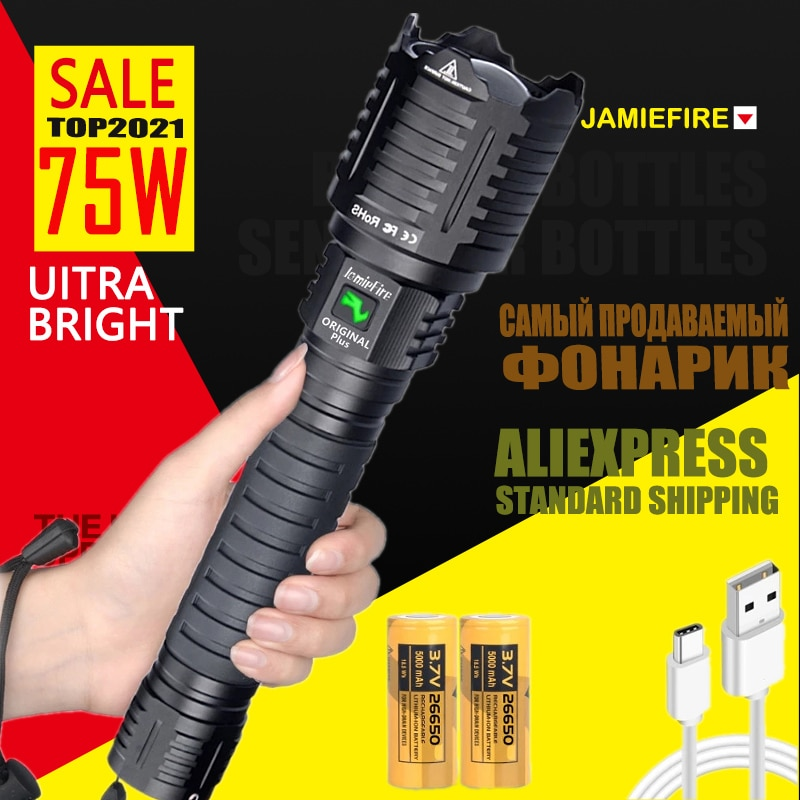 [ JamieFire LED]Flashlight Powerful Flash Light Brightest Lantern Zoomable 26650 Camping USB Rechargeable Tactical Hunting Torch