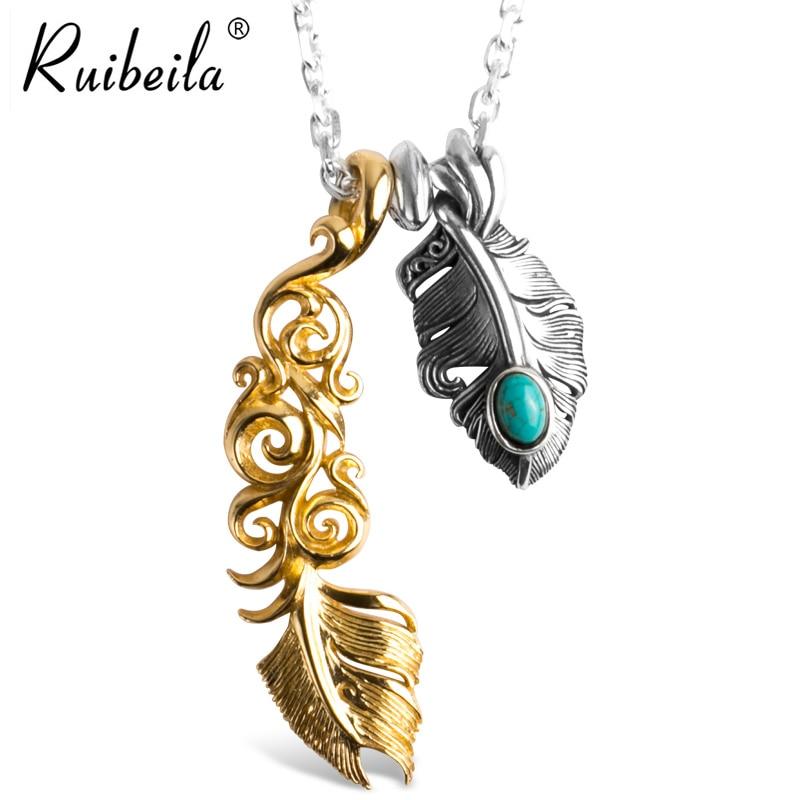 Ruibeila pendentif pluma turquesa de estilo indien 925 plata esterlina vintage Takahashi Goro fait à la principal 3mm collier