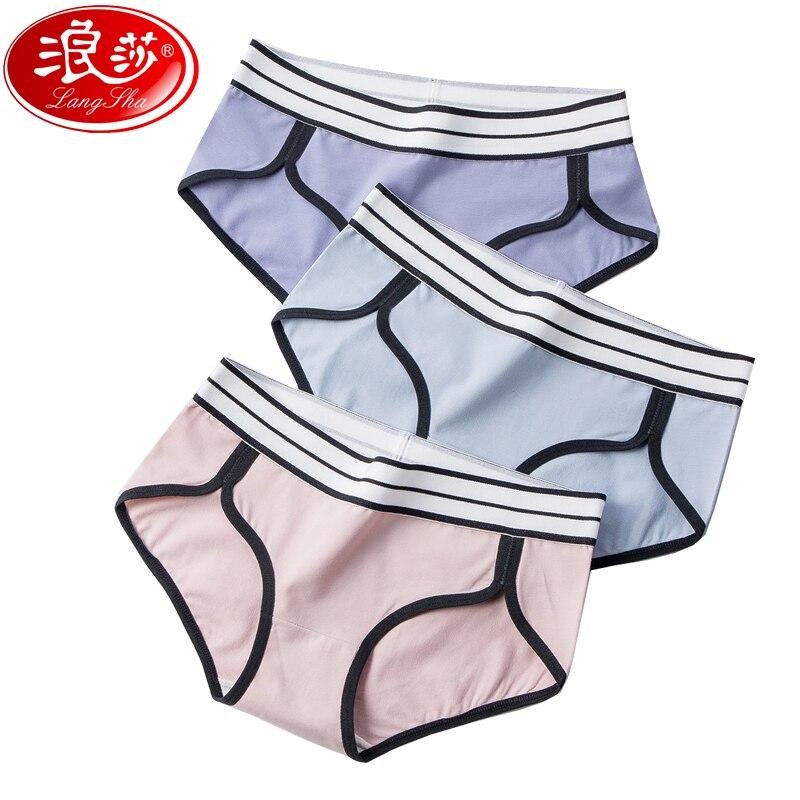 Langsha calcinha feminina de algodão macio sexy intimate moda feminina respirável cueca sem costura cintura baixa meninas briefs tamanho l xl
