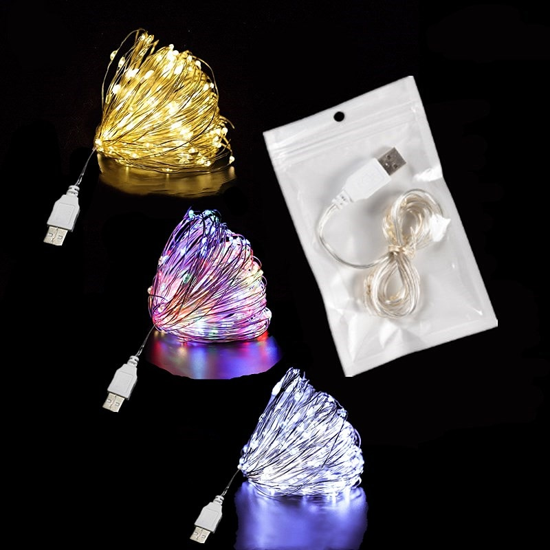 led string lights silver wire garland powered by 5v battery usb fairy light home christmas wedding party decoration LED String Light Silver Wire Fairy Lights USB Garland Home Christmas Wedding Party Decorations Light Powered By USB 5m 10m 20m