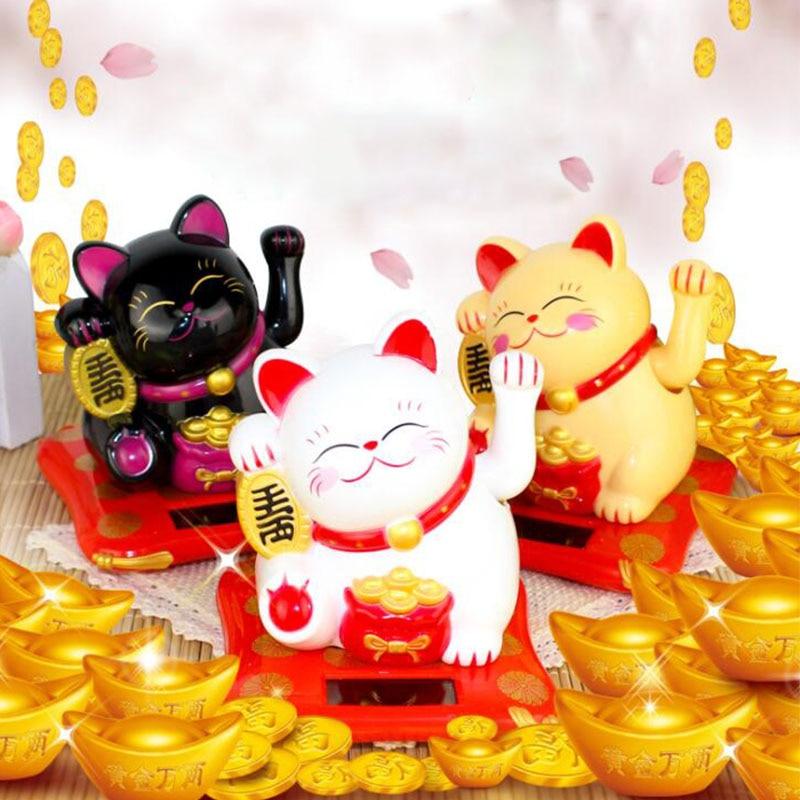 Décoration de chat or en or   Salutation de la main, de la maison, de la richesse chinoise, salutation de chat bienvenue, sculpture, statue, décor de voiture