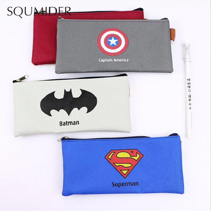 Superhero Cute pencil case canvas school Pencil cases gifts for kids stationery bag small Animal Pen case student storage bag portable fruit silicone stationery box cute pencil case kawaii school pencil cases gifts for girls student pen case storage bag