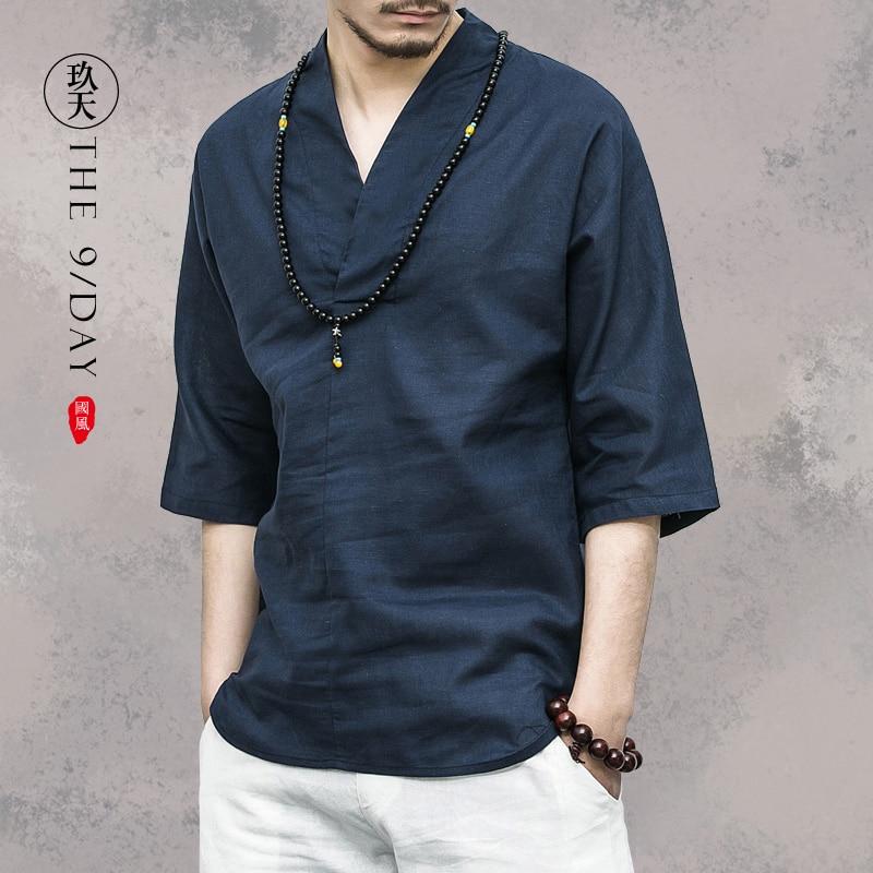 wind restoring ancient ways cotton linen jacket v-neck t-shirts with short sleeves men seven Chinese hanfu sleeve