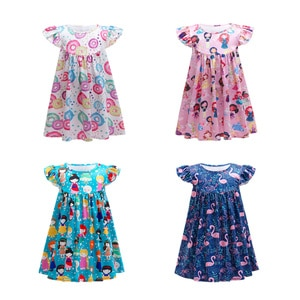 New Girls Summer Dress Flower Princess Dress For Girls Daily Casual Wear Fashion Kids Unicorn Clothes Doll Printing Vestidos