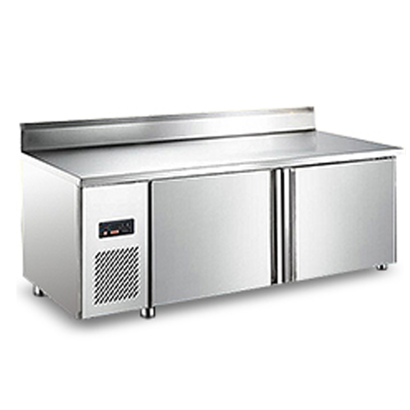 Double temperature freezer commercial double door fresh-keeping stainless steel display cabinet knob type refrigerator freezer