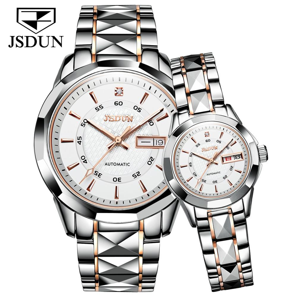Jsdun2021 new tungsten steel lovers automatic mechanical watch calendar week birthday Valentine's day high end business gifts