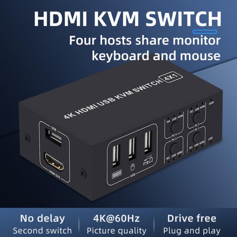 محول KVM 4K Ultra HD 4 منافذ USB ، سبائك الألومنيوم ، متين ، مستقر ، محول HDMI ، متوافق مع الكمبيوتر ، الماوس ، Keyboad