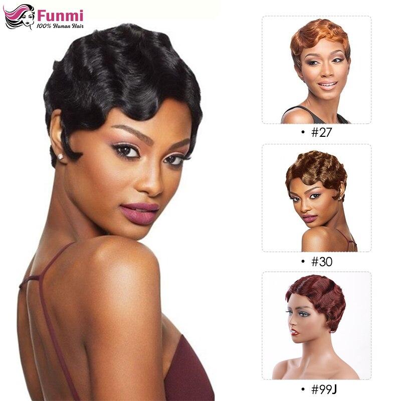 Peluca roja corta de corte Pixie de color burdeos, peluca de pelo ondulado brasileño Remy, pelucas de cabello humano corto hechas a máquina para mujeres negras