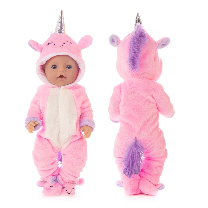 Baby New Born Fit 17 inch 43cm Doll Clothes Accessories Red Purple Blue Unicorn Suit For Baby Birthd