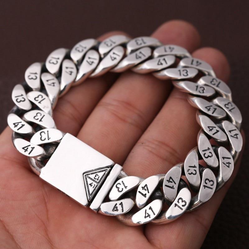 """100% s925 prata pura jóias 1314 """"amor para a vida"""" thai prata pulseira para homem triângulo soquete 16mm pulseira de prata do homem"""
