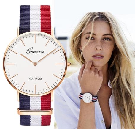 Classic Fashion Stripe Nylon Band Women Watches Top Luxury Brand Men Quartz Watch Lady Wristwatch Montre Femme Erkek Kol Saati