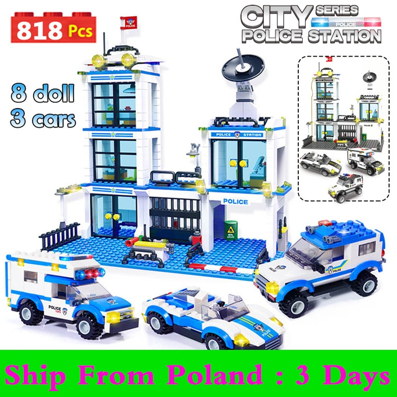 qunlong military helicopter building blocks toy compatible legoe city police swat toy for boy compatible lepin starwars figure 818pcs City Police Station Building Blocks Kit Compatible City Police SWAT Car Bricks Friends STEM Toys for Children Boys Gifts