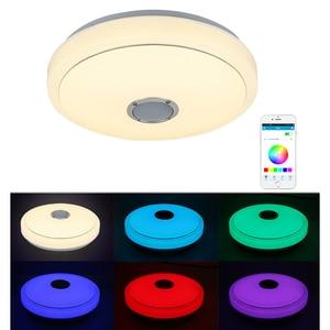 Музыка Светодиодный потолочный светильник RGB APP Control 30 Вт 48 Вт современный Bluetooth затемняющий потолочный светильник для спальни гостиной ...