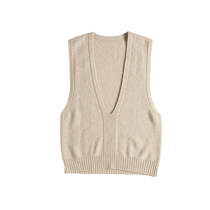 SHUCHAN Design Women Winter Sweater Clothes 96.3% Cashmere Sleeveless Vintage deep V-Neck  Sweater Vest Women  Solid New enlarge