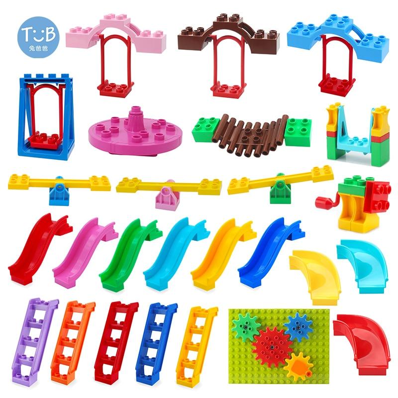 Duplos Blocks Amusement Park Accessory Slide Ladder Swing Seesaw Carousel Big Large-particle City Building Bricks DIY Toy