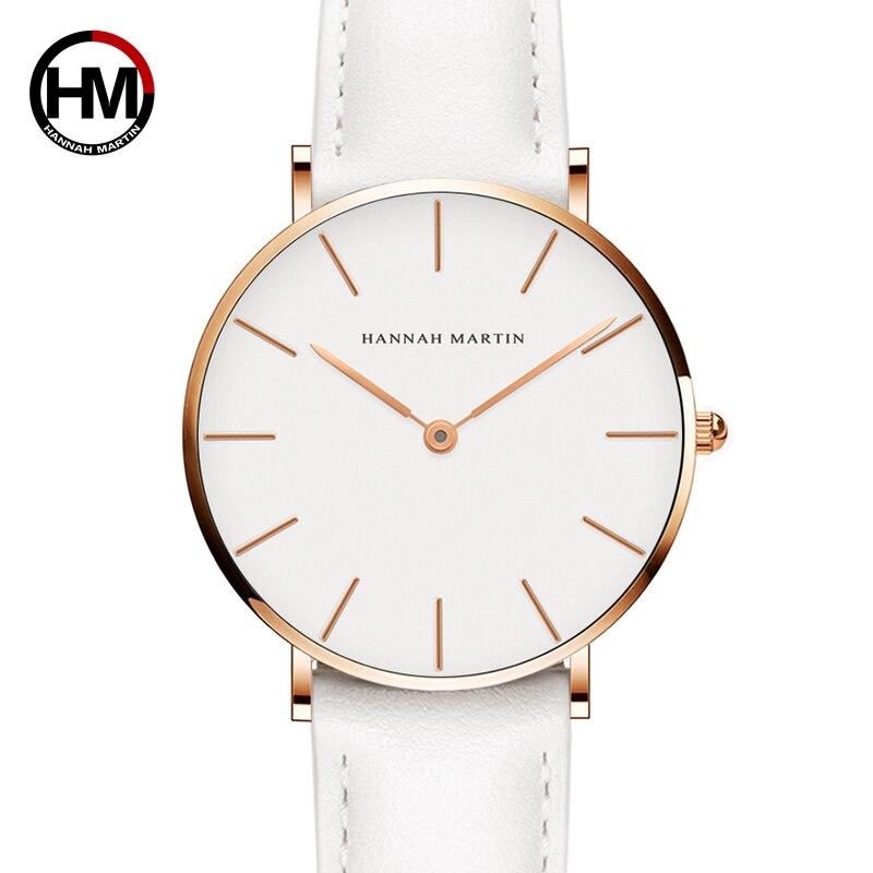 Дропшиппинг японские кварцевые простые женские модные часы белый кожаный ремешок женские наручные часы брендовые водонепроницаемые наручные часы 36 мм