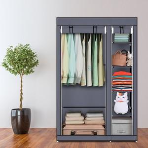 "【US Warehouse】67"" Portable Clothes Closet Wardrobes with Non-woven Fabric and Hanging Rod Gray Garderobe Wardrobe"