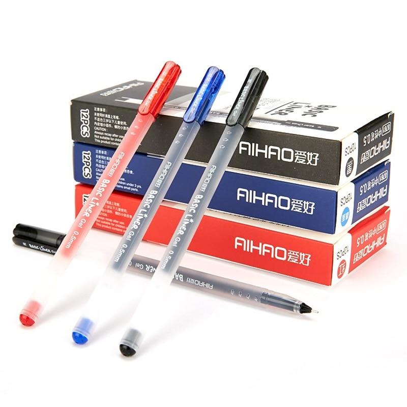 12 шт./лот основные лайнер гелевая ручка классические офисные школьные шариковая ручка 0,5 мм шариковая цвет ручки канцелярские принадлежнос...