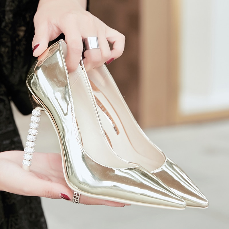 2021 Spring Women's Pumps New Gold And Silver High Heel Thin Heels Sexy Shallow Mouth Diamond Night Show Single Shoes Woman