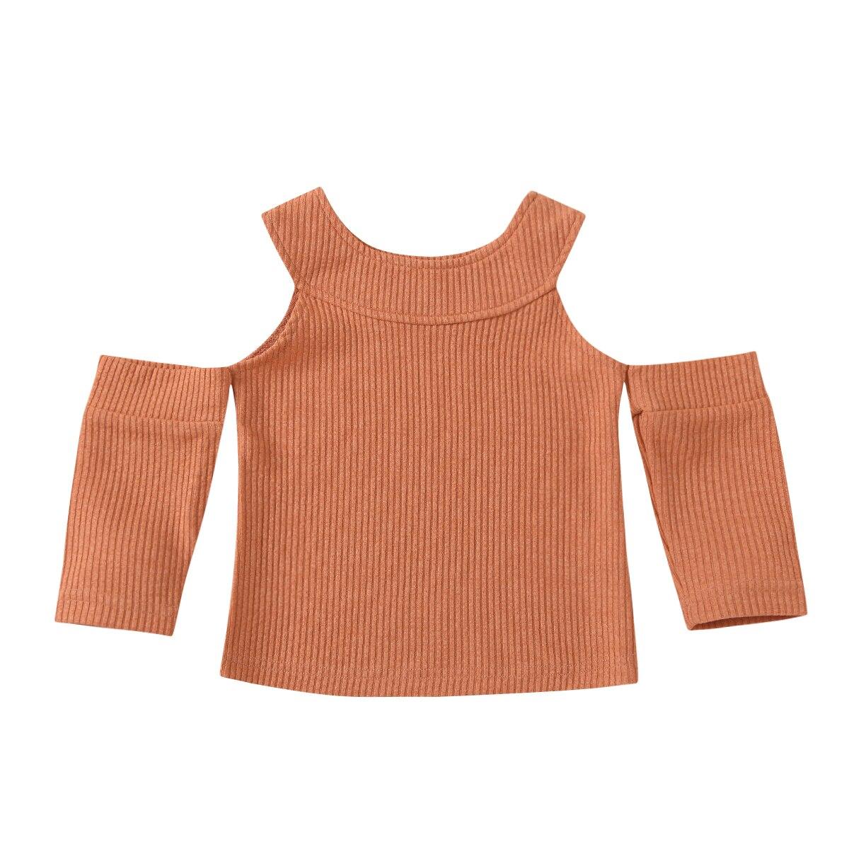 От 2 до 8 лет трикотажная одежда с открытыми плечами для маленьких девочек вязаный свитер с помпонами Топ однотонная одежда с круглым воротн...