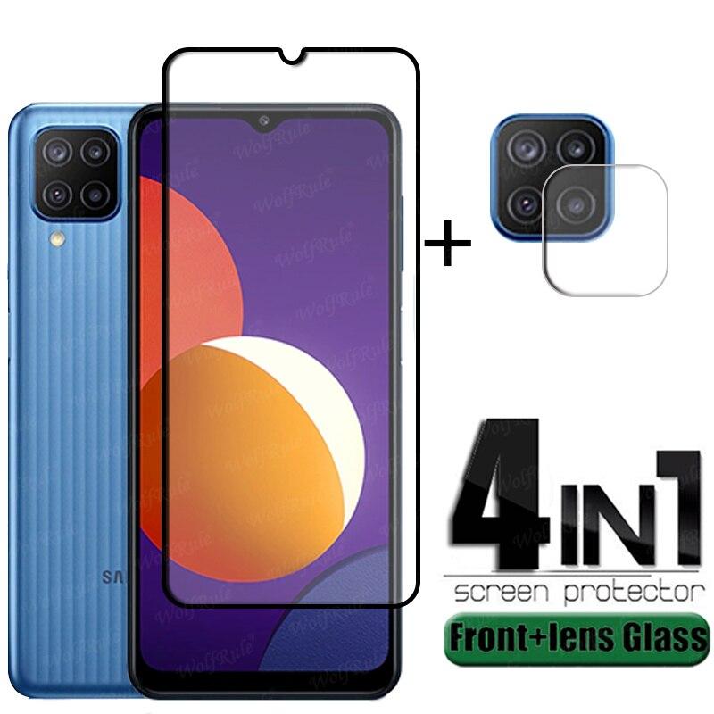 4-in-1 Für Samsung Galaxy M32 Glas Für Samsung M32 Gehärtetem Glas Voll Telefon Film Screen Protector für Samsung M32 Objektiv Glas